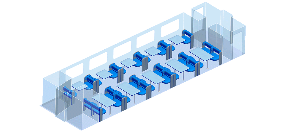 Схема вагона-ресторана скоростного поезда Стриж