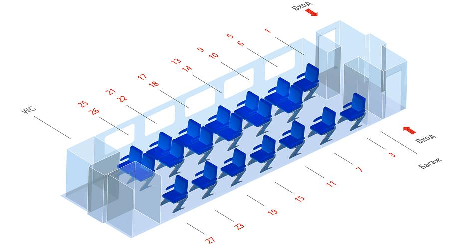 Схема мест вагона первого класса скоростного поезда Стриж