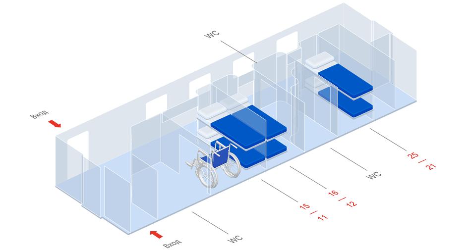 Схема мест вагона СВ скоростного поезда Стриж